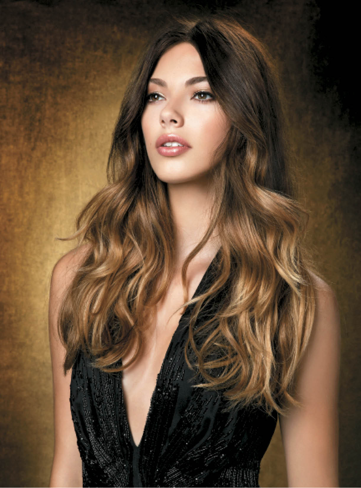 """Klara's look is one of the most popular looks I have done: Lily Aldridge's ombre,"" Cunningham says of the cover model. ""Klara began as a natural level 4 and we used two different highlight formulas to maximize her ombre effect and lighten her ends."