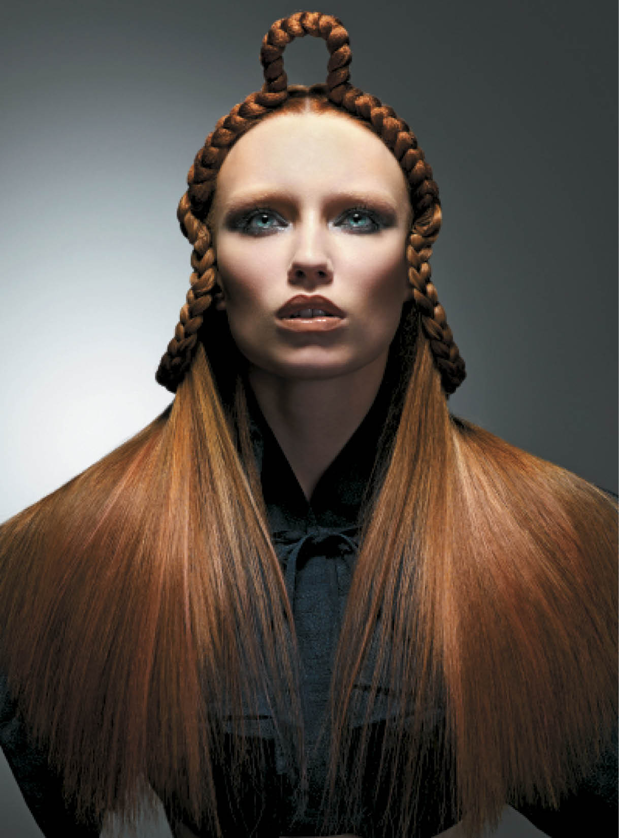 To give a texture effect with color, Baek used a soft pink highlight on top of copper. To style, he plaited the hair from the back, leaving some sections at the front. Next he used pins to secure the plaits into the desired shape, and ran a flat-iron through the underneath section. To finish, he applied Tecni.Art Liss Control and Deviation Paste to give shine and hold.