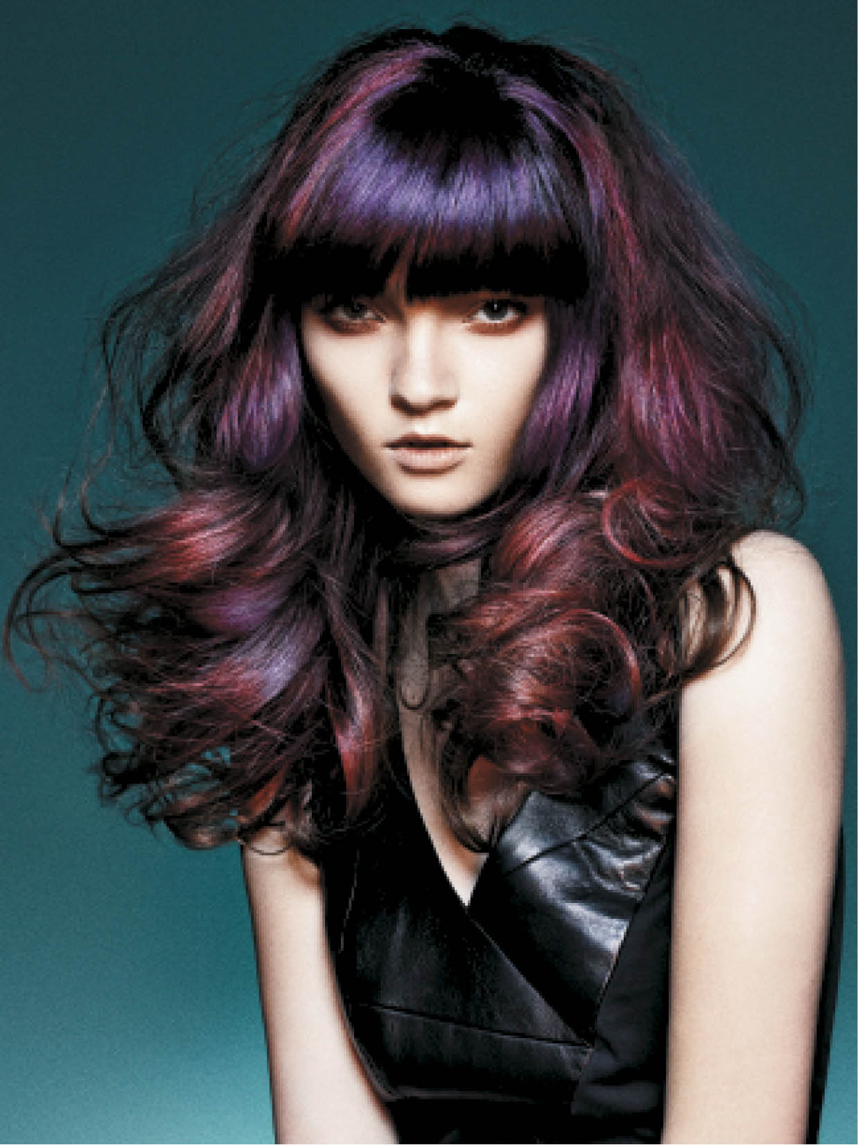 Barton embellished these long, dark and voluminous locks with rich purples and reds for the illusion of extra shine.