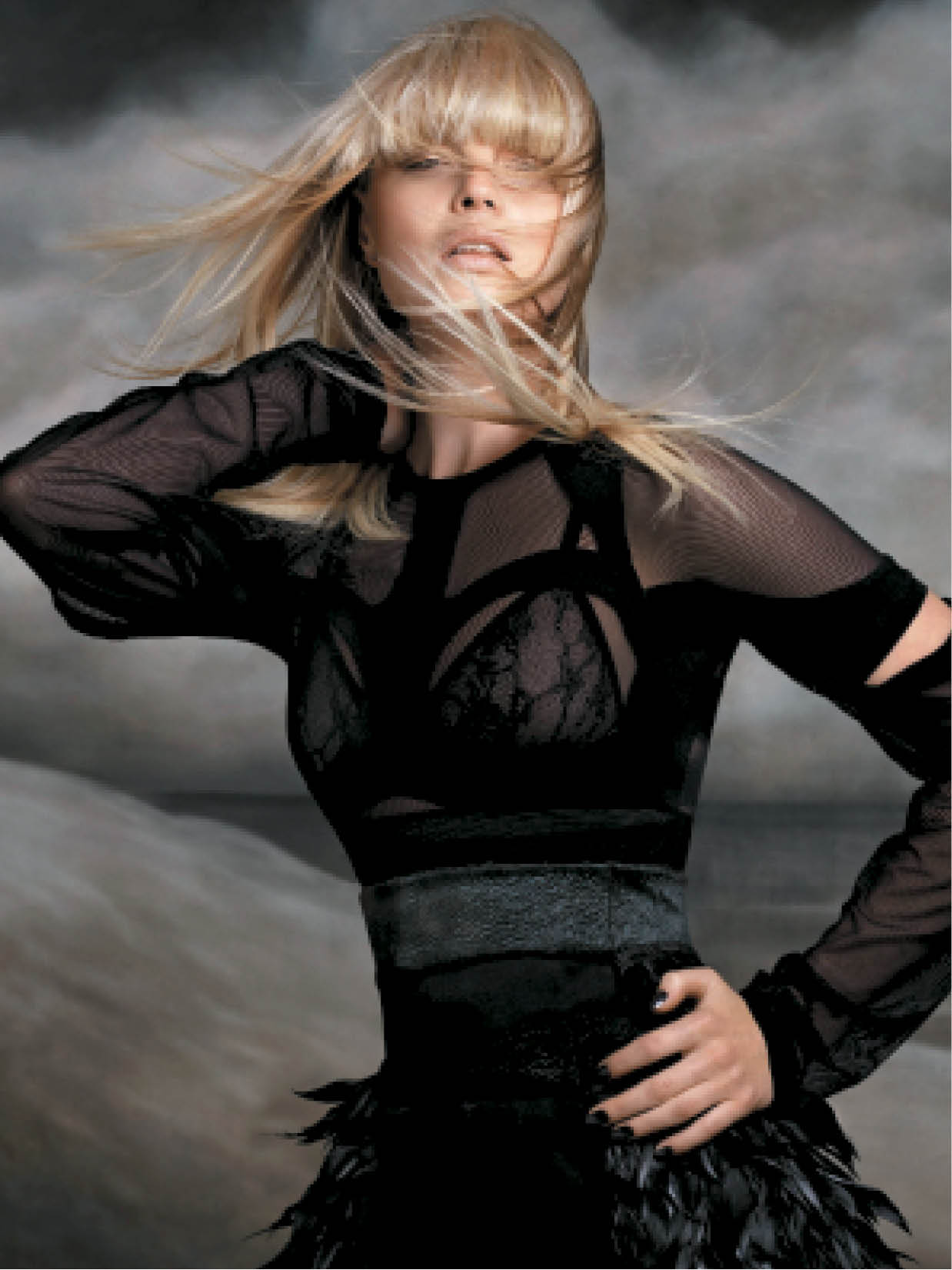 To create a windswept blonde look, The Rainbow Room International Artistic Team added full false-fringe pieces in multiple tones to create depth, shadows, movement and texture.