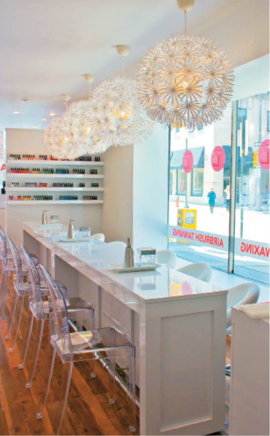 The manicure bar ar Sundrops Nail spot in Phoenix is girly and fun