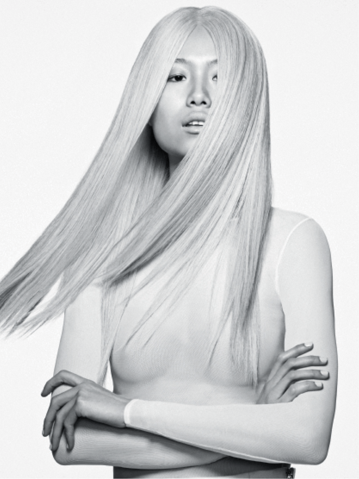 Alexander Turnbull achieved this icy blonde with Matrix bleach and toned the color using Matrix cream developer. He used a slide-cutting technique and a wind machine to create the desired look.