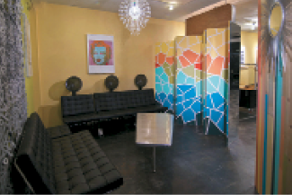 Clients can relax in the Color Lounge while their haircolor processes