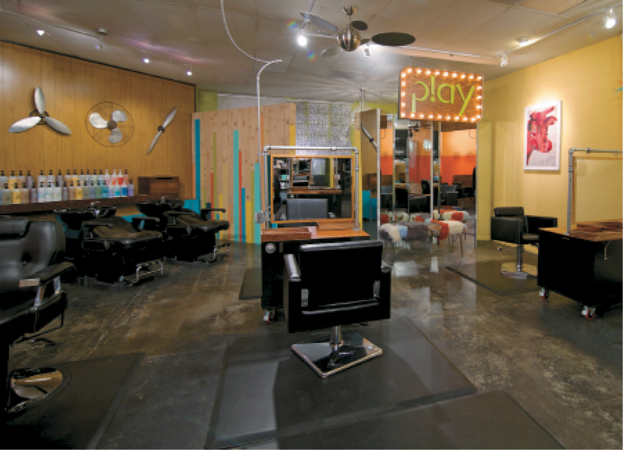 Play Hair Lounge features a pop-art vibe complete with Andy Warhol prints
