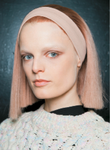 "Marc Jacobs: At Marc Jacobs, Guido says, ""the tonality of the haircolor, the makeup and the clothing were all paired together to give a monochromatic hue from head to toe."" KEY PRODUCTS: Redken Hardwear 16, Satinwear 02, Iron Shape 11, Control Addict 28"