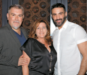 American Salon Editor in Chief Kelley Donahue with Kao Salon Group Vice President of Global Education John Moroney and Goldwell Artistic Director and Global Master Dimitrios Tsioumas