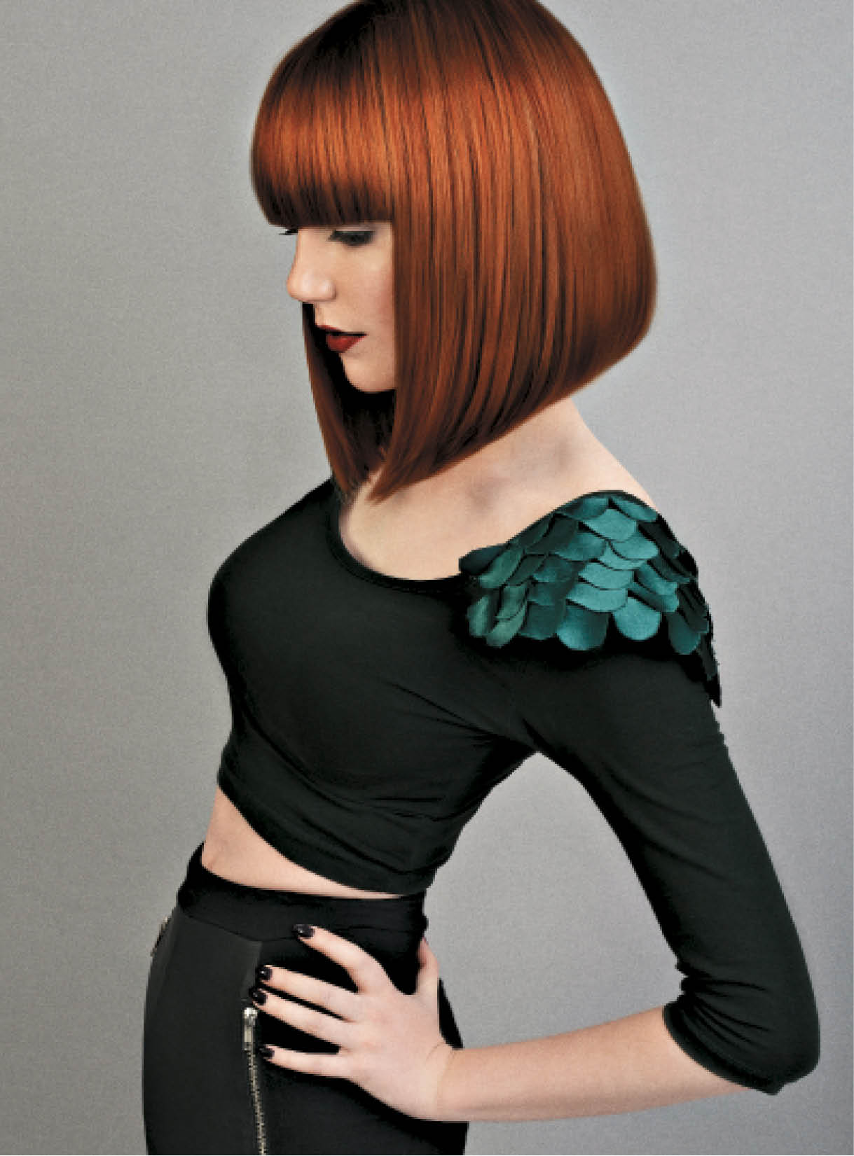 Gamble and Passmore called on rich copper tones, graphic lines and a blow-dryer to make this midlength bob all the more sleek and striking.