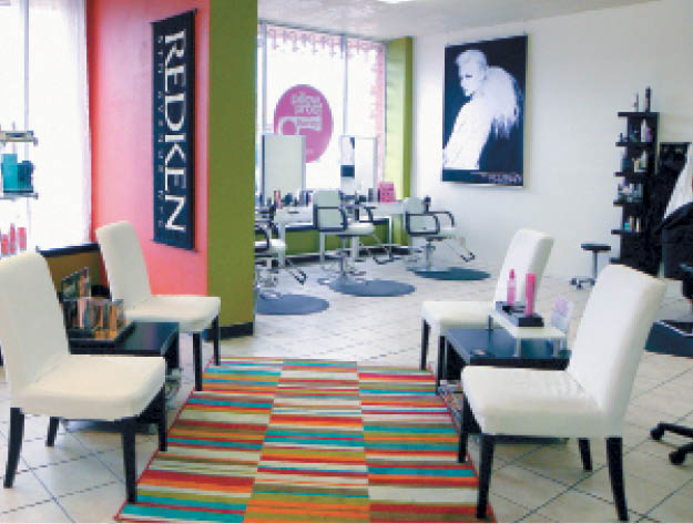 The inviting waiting area with the new blow-dry bar nearby