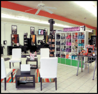 The salon has an open feel in its downtown space