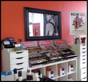The makeup bar at Salon Ethos