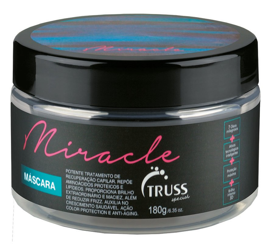 Truss Professional  Miracle Mask moisturizes curls with a blend of miracle oils that restores elasticity and softness.