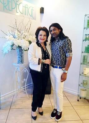 Repêchage CEO & Founder Lydia Sarfati with a Kerry Goberdhan, Owner of KOR Salon and Spa in Trinidad who carries Repêchage exclusively for spa services