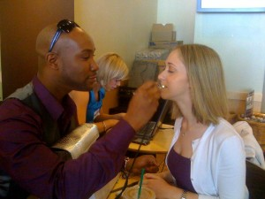 Marc applies Luminess airbrush makeup to my face in the middle of Starbucks