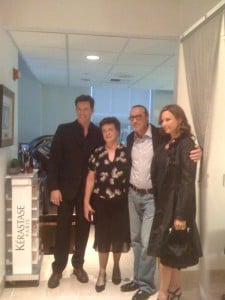 Harry Connick Jr and wife Jill Goodacre flank Patrick Melville and his mom Agnes