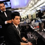 Hairroin Salon's Luis Payne and American Idol runner-up Adam Lambert in the Sebastian Professional lounge at the Young Hollywood Awards