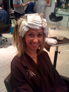 Getting the Bio-Lights put in my hair — they were so comfortable on my head!