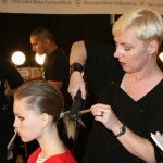 Aveda's Antoinette Beenders backstage at Yigal Azrouel