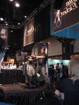 David Guerin showed off his clipper skills at the Oster booth.