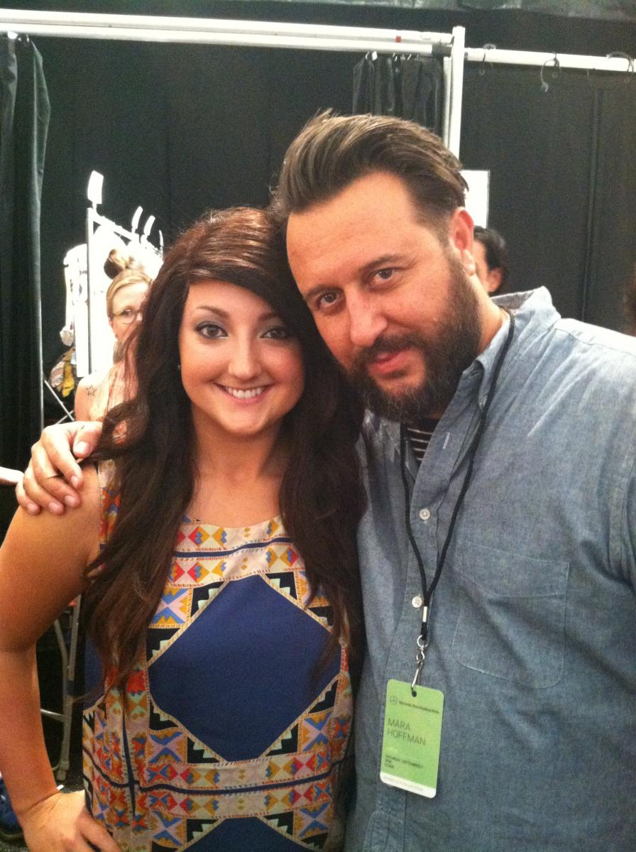 Mikayla Marcero, ambassador of CWHL, and TIGI's Nick Irwin behind the scenes of NYFW SS14