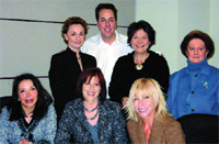 FRONT ROW, FROM LEFT: Elena Solitario, Carolyn Corporon, Cheryl Tricoci. BACK ROW, FROM LEFT: Elaine Sterling, Dr. Mark Lees, Lydia Sarfati, Josephine Zeppieri