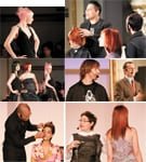 From Left (above and below): Baby pink and bright jade green were the hot colors from Aveda Academy London; Above Right: Madio Monge, from Perry Monge Salon in Phoenix, creates a cut from the Flutter collection;  Center Right, Aveda technical artistic director David Adams  welcomes the crowd to Master Jam; Aveda guest artist Peter Gray (left) introduces the Flow Collection; Below Right: Ana Karzis demonstrates natural, blended colors with Aveda Color Currents. Below Left: Rudy Miles crafts bright, beautiful looks with Aveda's new Petal Essences; Rudy Miles crafts bright, beautiful looks with Avedas new Petal Essences.