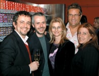 FROM LEFT: Nick Arrojo; Dominic Antiszko and his wife, Jenny Acheson; and American Salon's Brett Vinovich and Kelley Donahue