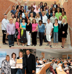 CLOCKWISE, FROM TOP: The graduating class strikes a pose; interactive classes were part of the curriculum; FROM LEFT: B.E.S.T. Foundations Kristin Firrell, Redkens Ann Mincey, student/salon owner Rob Peetoom and professor Alfred E. Osborne, Jr.