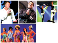 CLOCKWISE FROM TOP: Winn Claybaugh motivates the crowd; Angus Mitchell takes a bow; graphic cuts and strong color take center stage; Scott Cole and Linda Yodices models strike a colorful pose.