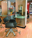 Chairs from Welonda, with sleek chrome legs, add a contemporary touch to Philip Ciampa Salon & Day Spa.
