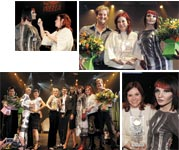 CLOCKWISE FROM TOP LEFT: Millie Malone preps her model for the competition; silver medal winner Malone of Bella Capelli Salon and her team were all smiles; the award-winning stylists and their teams strike a pose.