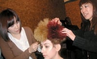 Creating big hair backstage
