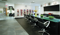 Clients get the five-star color treatment at the salon's color bar, which is free of mirrors.