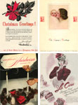 CLOCKWISE, FROM TOP LEFT: Advertisers frequently sent holiday greetings to our readers in the '40s; Breck's ad on the back cover of our December 1944 issue included a message to buy War Bonds; a cigarette becomes a prop in an ad for manicure implements; the cover of American Hairdresser, December 1944.
