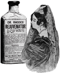Dr. Rhodes' Rejuvenator restored natural color to the hair; a mantilla fit for evening wear.