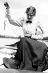 Girl in boat wearing the infamous shirtwaist