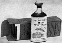"Senator Hair Whitening preparations were guaranteed to whiten gray hair that had turned yellow from any cause. According to their ad, ""All up-to-date hairdressers use Senator Hair Whitening."""