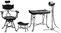 Andrew's Famous Steel Rod Furniture was designed for use in massage, manicure and hairdressing parlors. Its claim to fame was the fact that it was clean and hygenic.