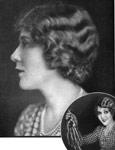 America's sweetheart, actress Mary Pickford, sports a trendy new bob. INSET: Displaying the golden curls she chose to lop off.