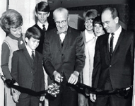 The Bauer family at a ribbon-cutting ceremony