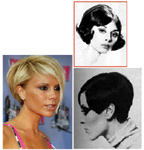 "CLOCKWISE, FROM TOP: One of the ""soft and lovely shaped styles"" that women were wearing in the 1960s before Vidal Sassoon came along; the ""Upbeat"" look Sassoon presented at a press luncheon hosted by Clairol in 1966; Victoria Beckham sporting her new bob, which the press Is calling the POB (Posh's Bob)."