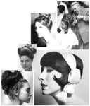 "CLOCKWISE, FROM TOP RIGHT: The master at work in one of his salons; inspired by the 1920s, this 1961 evening look was one of the first blow-dries with a brush; named ""Designed Disorder,"" this style shows French's brilliant use of jewelry in the hair; a creative updo of the day, photographed by Norman Eales; photographed by John Coles, this 1966 look was just brushed and pinned."
