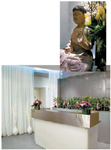 The reception area sets a Zen-like tone; ABOVE: A statue of Buddha in the retail area adds to the calming atmosphere.