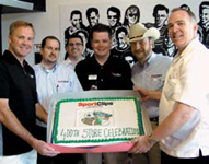 Sport Clips celebrated its 400th store opening. Left  to right: Mike Wallace, Ivan Zoot, Kurt Hansen, Gordon Logan, Greg Fisher and Clete Brewer