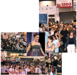 CLOCKWISE, FROM LEFT: Business was brisk at the DreamCatchers by Paris Hilton booth; it was standing-room only at the Cirque du Soleil presentation; the Las Vegas Hair & Nail Conference featured an expanded show floor; Martin Parsons created elegant updos during his MainStage presentation; beauty pros packed the show floor and the MainStage presentations.