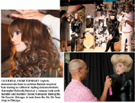 Clockwise, from top right: Stylists demonstrate how to achieve Bardot-inspired hair during an editorial styling demonstration; Hairstylist Rolando finished a runway look with Bumble and bumble Classic Hairspray during Bb. On Tour in Chicago; A look from the Bb. On Tour stop in Chicago.