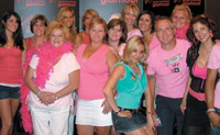 Orfeh (front and center), who plays hairstylist Paulette in Legally Blonde—The Musical, poses with attendees.