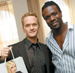 Joico's Anthony Morrison (right), with Neil Patrick Harris of the CBS show How I Met Your Mother