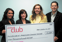 Mary Albanese, Vice President of marketing for Product Club, presents a $5,000 check to the American Cancer Society.