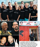 CLOCKWISE, FROM TOP: Team Paul Mitchell and John Paul DeJoria; DeJoria outside of Love & Beauty Hair Saloon near Port Elizabeth, South Africa; DeJoria with Ludacris; DeJoria with Nelson Mandela