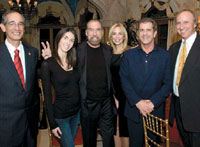 John Paul DeJoria (center) with President-elect of Guatemala Alvaro Colom, Michæline DeJoria, Eloisa DeJoria, actor Mel Gibson and Dr. Richard D. Hansen at a dinner to support the Mirador Basin.